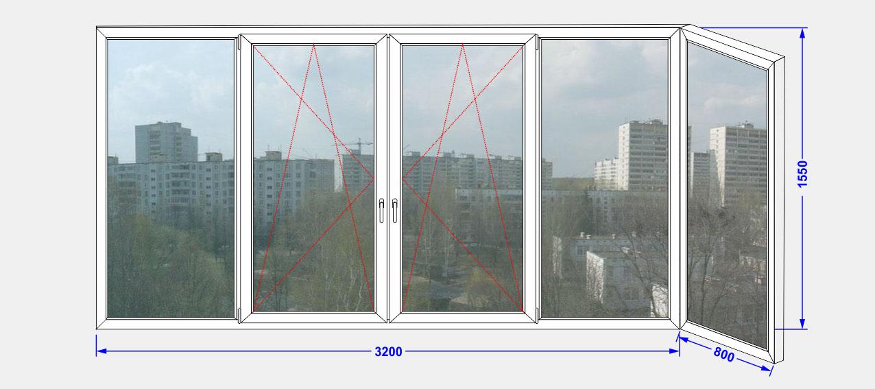 Остекление балкона пластиковыми окнами в одинарным стекло..