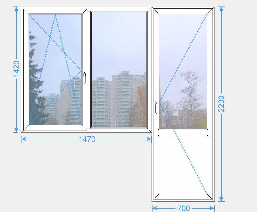 Балконный блок (окно 1470х1420) серия п-42 купить в москве и.
